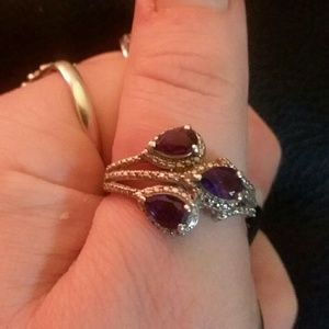 Sterling silver 925 stamped and amethyst ring sz 8